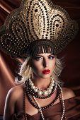 Russian Beauty. Attractive female wearing in kokoshnik.