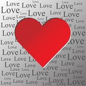 Valentine´s Day Greeting Card With Red Heart And Love Text - Newspaper Background