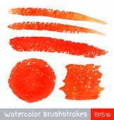 Set of Red Watercolor Brush Strokes
