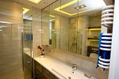 image of wash-basin  - Bathroom mirror wash basin in a modern apartment  - JPG