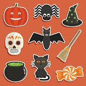 picture of witches cauldron  - set of halloween stickers with pumpkin spider cauldron cat witches hat skull broomstick black cat and candy - JPG
