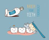 Постер, плакат: Comics about dental diagnostics and treatment