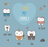 picture of teeth  - Happy family teeth set - JPG
