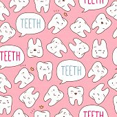 Seamless colorful teeth pattern. Vector illustration.