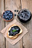 Bread With Blueberry Jam And Jam In Glass Jar