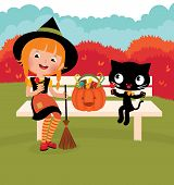 Girl Witch With Her ??cat Celebrate Halloween