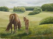 Oilpainting - Mare and Foal