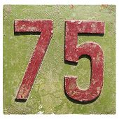 plate with a number 75