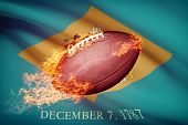American Football Ball With Flag On Backround Series - Delaware