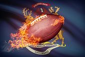 American Football Ball With Flag On Backround Series - Michigan