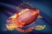 American Football Ball With Flag On Backround Series - North Dakota