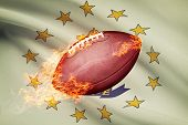 American Football Ball With Flag On Backround Series -  Rhode Island