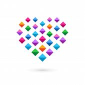 Heart mosaic crystal logo icon design template elements