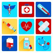 Medical flat icons set