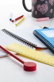 Colorful Writing Tools On Young Children's Desk