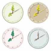 Set Of Seasonal Clock Summer, Autumn, Winter And Spring.