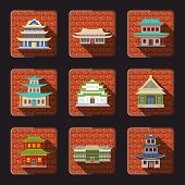 Chinese house icons tile