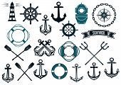 picture of trident  - Nautical themed design elements with lighthouse - JPG
