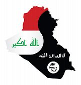 picture of iraq  - Map of Iraq showing the two warring factions dividing the county translation on flag reads there is no God but God Mohammed is his messenger - JPG