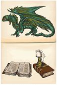 Dragon And Books - Hand Drawings, Vector