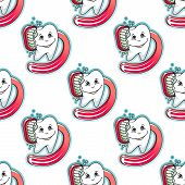 Cartoon tooth and brush seamless pattern