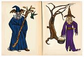 Witch And Wizard - Hand Drawings, Vector