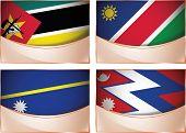 Flags illustration, Mozambique, Namibia, Nauru, Nepal