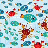 Seamless Pattern With Marine Animals. Vector