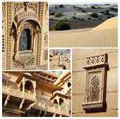 Collage Of Rajasthan State Popular Touristic Landmarks,india  - Golden City Of Jaisalmer And desert