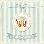 Retro Baby Shower Card With Stroller