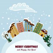 Christmas Card With Houses And Signs. Vector Illustration