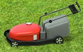 picture of grass-cutter  - a lawnmower on a grass at backyard - JPG