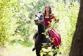 Brunette Girl On Horse