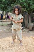 Portrait Girl Of Laos In Poverty