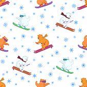 Background, teddy bears ski