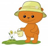 Teddy bear watering a flower
