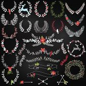 Vector Collection of Chalkboard Christmas Holiday Themed Laurels and Wreaths