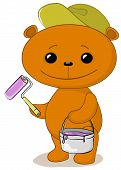 Toy bear house painter