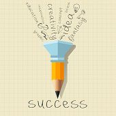 Success Creativity Concept with Pencil and Creative Theme Words. Inspirational modern design concept