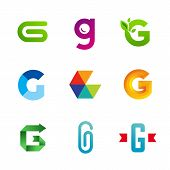 Set of letter G logo icons design template elements. Collection of vector signs.