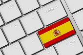 Computer Keyboard With Spanish Flag Button