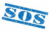 Sos Blue Grunge Stamp Isolated On White