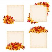 Vector beige cards with colorful autumn leaves.