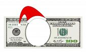 A Christmas 100 dollar bill no face, clipping path