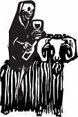 picture of debauchery  - Woodcut style expressionist image of death drinking wine and riding on a goat - JPG