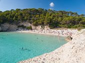 Mitjana Beach In Menorca, Spain.