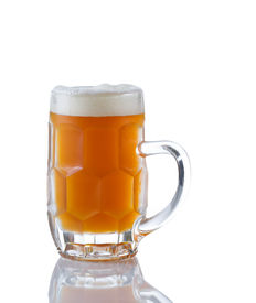 stock photo of stein  - Vertical image of a Glass Stein filled with fresh amber beer on white with reflection - JPG