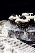 Muffins From Semolina With Blueberry Jam And Cream