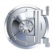 stock photo of vault  - front view of the door of a bank vault on white background  - JPG