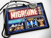 Migraine on the Display of Medical Tablet.